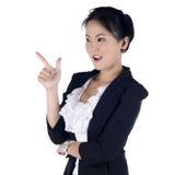 快乐的女商人 免版税库存图片