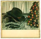 Рождественская открытка ковбоя год сбора винограда. Американская предпосылка Стоковое Изображение