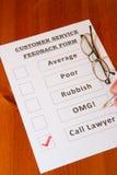 乐趣客户服务部反馈表单 库存照片
