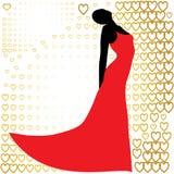 Μαύρη σκιαγραφία της όμορφης γυναίκας στο κόκκινο φόρεμα Στοκ φωτογραφία με δικαίωμα ελεύθερης χρήσης