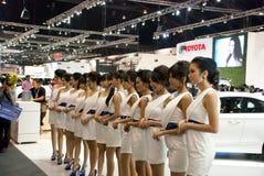 相当性感在泰国汽车展示会 库存照片