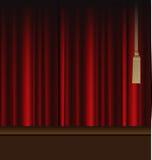 对剧院阶段的红色窗帘 免版税库存照片