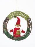 让它下雪圣诞节花圈 库存图片
