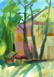 在树胶水彩画颜料的克里米亚半岛草图 库存图片
