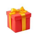 Κόκκινο κιβώτιο με το κίτρινο τόξο ως δώρο Στοκ Εικόνες