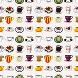 Безшовная картина кофе Стоковые Фотографии RF