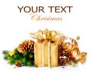 Κιβώτιο και διακοσμήσεις δώρων Χριστουγέννων Στοκ Εικόνα