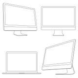 Дисплеи и компьтер-книжка компьютера Стоковые Фотографии RF