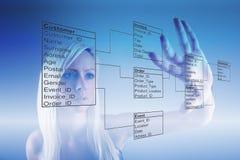 Девушка с таблицами базы данных Стоковая Фотография RF