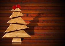 木和风格化圣诞树 免版税图库摄影