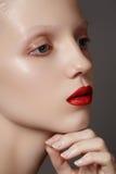 塑造构成&化妆用品。 与明亮的红色嘴唇的魅力模型表面,干净的发光的皮肤 免版税库存图片