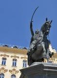 在大广场的雕象在萨格勒布,克罗地亚 图库摄影