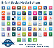 Φωτεινά κοινωνικά κουμπιά μέσων Στοκ Εικόνα