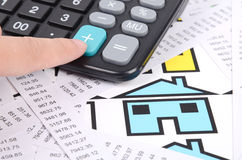 收货呼叫,计算器和房子符号 免版税库存照片