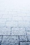 在露台的雪 免版税库存图片