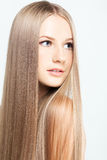 Πορτρέτο της νέας γυναίκας με μακρυμάλλη Στοκ φωτογραφία με δικαίωμα ελεύθερης χρήσης