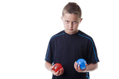 有水气球的男孩 免版税库存照片