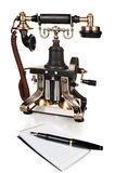 Ретро телефон, ручка и блокнот - комплект телефона год сбора винограда Стоковое Фото