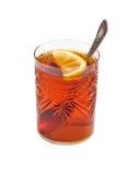 茶玻璃用柠檬 库存图片
