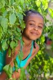 一个可爱的矮小的非裔美国人的女孩的纵向 免版税库存图片