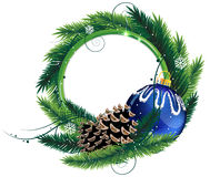 Венок Кристмас с конусами шарика и сосенки Стоковое фото RF