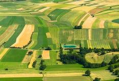 Γεωργική εναέρια όψη πεδίων Στοκ Φωτογραφία