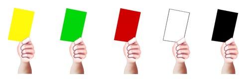 Χέρια που εμφανίζουν ένα κενό των πολυ καρτών χρωμάτων Στοκ φωτογραφία με δικαίωμα ελεύθερης χρήσης