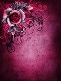 玫瑰色哥特式的华伦泰和装饰品 免版税库存图片