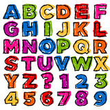 五颜六色的乱画字母表和编号 库存照片