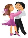 动画片男孩和女孩跳舞 免版税库存图片