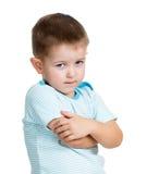 男孩在空白背景查出的孩子翻倒 库存照片
