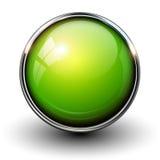 绿色发光的按钮 图库摄影