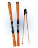 滑雪和滑雪棍子 免版税库存图片