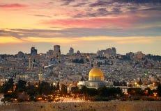 对耶路撒冷老市的视图。 免版税库存图片