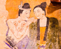 Тайская известная стенная роспись Стоковая Фотография