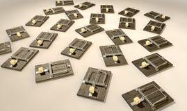 有干酪列阵的捕鼠器 库存图片