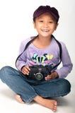 女孩和照相机 库存照片