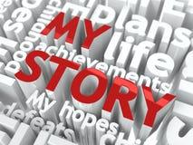 我的故事-红颜色文本。 免版税库存图片