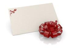Τόξο και ευχετήρια κάρτα Στοκ φωτογραφία με δικαίωμα ελεύθερης χρήσης
