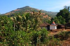 土气印第安村庄场面 库存图片