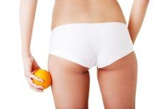 脂肪团妇女减重控制概念 免版税库存图片
