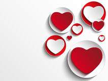 在白色按钮的情人节心脏 免版税库存照片