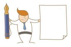 бумага объявления ручки показа человека для подписывая документа Стоковые Изображения
