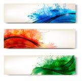 五颜六色的抽象水彩横幅的收集 免版税库存图片
