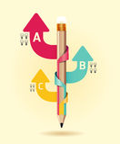 Δημιουργικό πρότυπο με το έμβλημα βελών κορδελλών μολυβιών Στοκ φωτογραφία με δικαίωμα ελεύθερης χρήσης