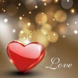 情人节贺卡、礼品与光泽的看板卡或者背景 库存图片