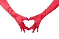 红色手套爱 免版税库存照片