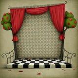 与童话阿丽斯的要素的背景在妙境 免版税库存图片