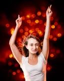 美好的少妇跳舞的纵向 免版税库存照片