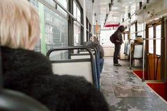 里面电车。 免版税库存照片